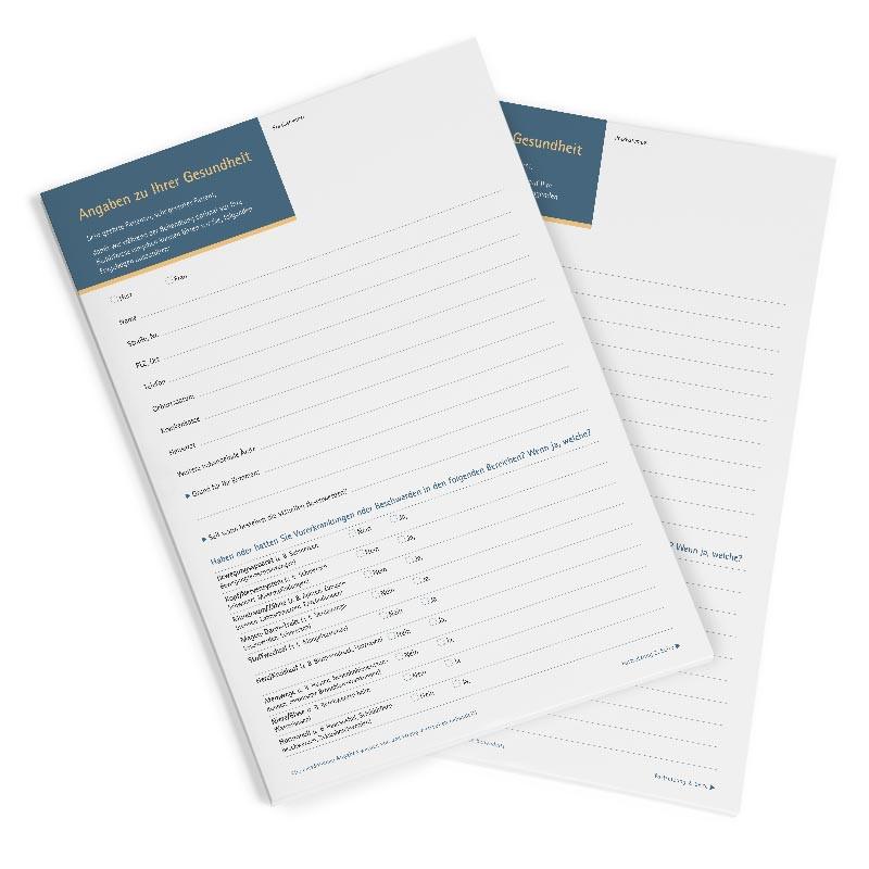 Patientenfragebogen - Block á 25 Blatt (kostenlos ab 50 € Mindestbestellwert)